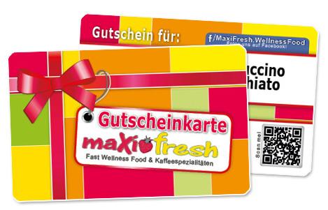 Gutscheinkarte aus stabilem PVC Visitenkartenformat für Crepes Laden- MaxiFresh