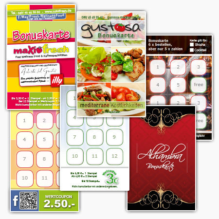 Gastronomie Bonuskarten beidseitig Restaurants Treuekarten Rabattkarten