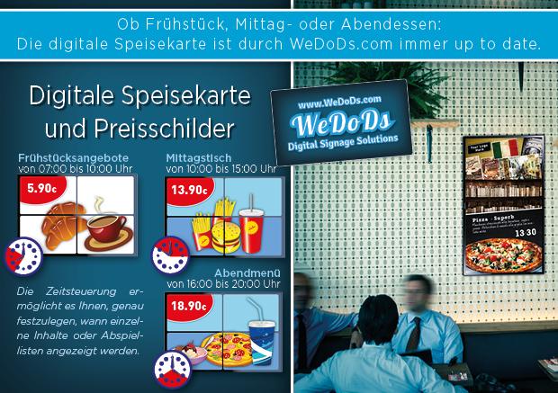 Digitale Speisekarte und Preisschilder für Restaurants, Bars - Gastronomie