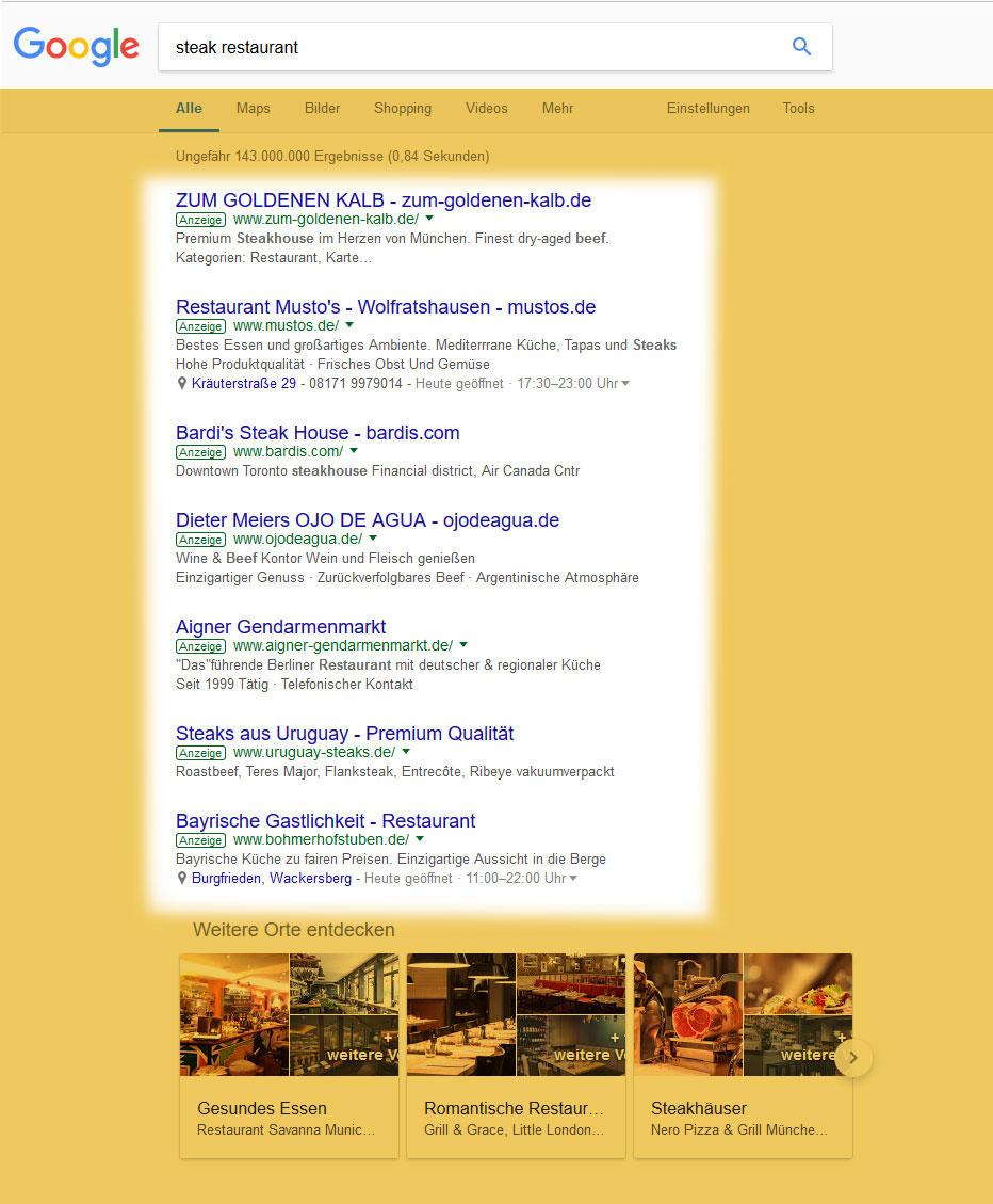 Google AdWords Restaurants und Gastronomie Suchmaschinenwerbung SEA - DNZ Networks