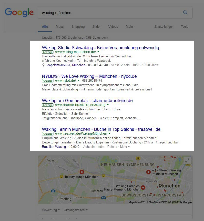Waxing-Google-AdWords-Enthaarung-lokale-Google-Anzeigen-Friseur-Salon-PVC-Banner-Beauty-Branche-Nageldesign-SEA-Beauty-DNZ-Networks