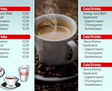 Menü digitale Getränkekarte als Liste - DNZ Networks