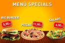 Spezial Menü digitale Speiseangebote mit Burger, Pizza und Salat - Gastronomie - DNZ Networks