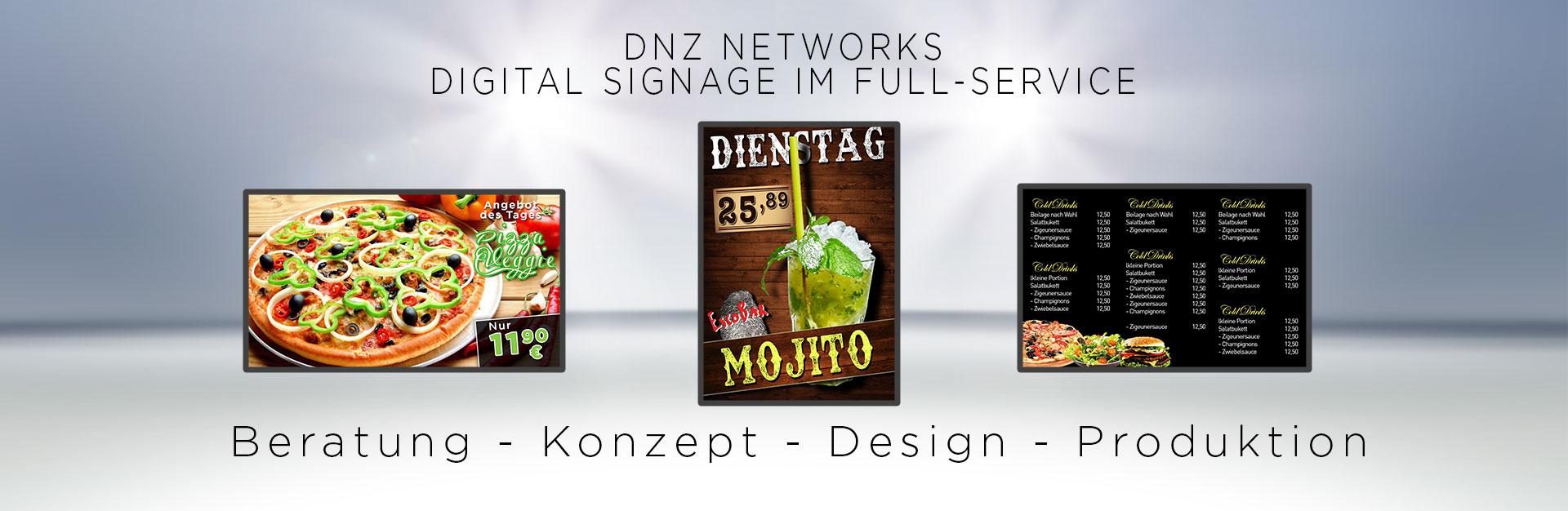 Digital Signage Full-Service Produtkion Menukarte Beratung Design Branche-Gastronomie - DNZ-Networks