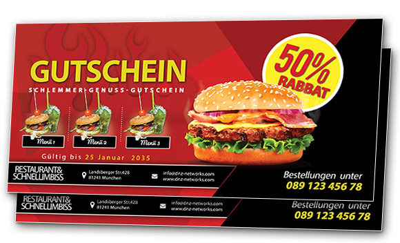 Speise Gutschein Restaurants Rabatt Gastronomie Voucher Geschenkgutschein - DNZ Networks