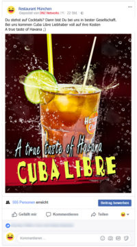 Facebook-Posting-Cuba-Libre-Cocktail-Restaurant-Facebook-Marketing-Gastronomie-DNZ-Networks