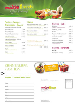 Bestellliste, Lieferservice, Catering Crepes Laden- MaxiFresh