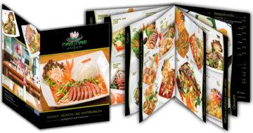 Speisekarte für Asia-/ Thai-Restaurant mit Fotografie der Speisen, Gestaltung und Drucken der Speisekarten