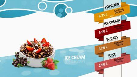 Candy Shop Digitale Menueboard Animation Eis Creme Müsli Vorlage