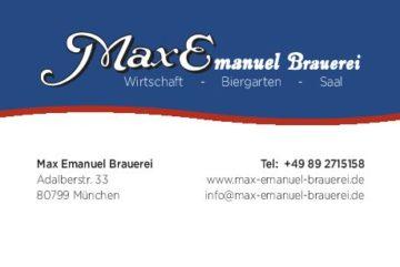 Visitenkarte Logo und Designe –  Max Emanuel Brauerei