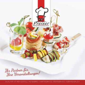 Neugestaltung Catering Broschüre – Cover – Innenseite – Backcover