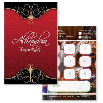 Bonuskarte, Stempelkarte Shishabar Alhambra Rabattkarte