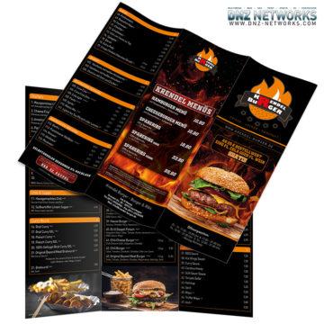 Krendl Burger & Ribs Isarhagen – Erstellung eines 6-seitigen DIN A5 Lang Wickelfalz Speiseflyer für ein Burger & Ribs Restaurant