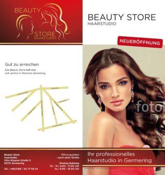 Flyer, Visitenkarte, Stoffbanner, Logogestaltung – Beauty Store Haarstudio – München